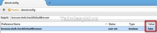 Firefox - Vô hiệu hoá việc kiểm tra trình duyệt mặc định