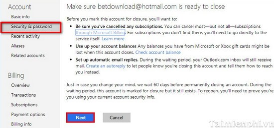 how to delete the hotmail account permanently