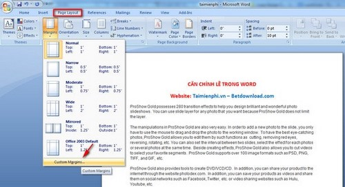 how to change the page margin in word 2013
