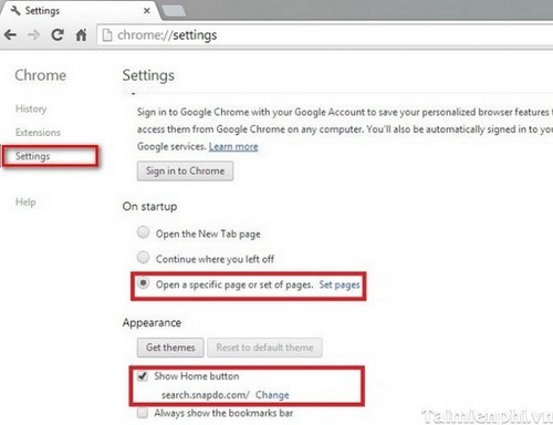 how to change opening page on chrome