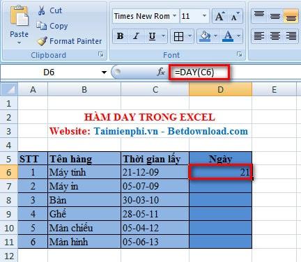 Excel - Hàm DAY, Hàm trả về ngày của ngày/tháng/năm 2