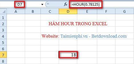 Hàm HOUR trong Excel, Hàm chuyển đổi một số se-ri thành một giờ