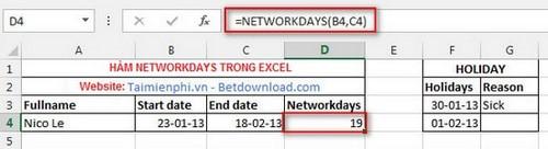 Các hàm ngày tháng trong Excel 4