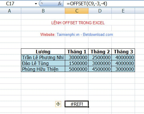 OFFSET function in EXCEL, illustration and example usage