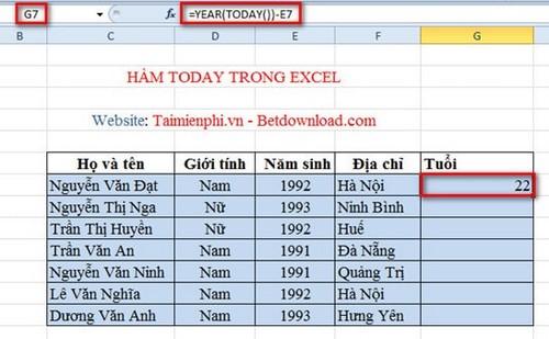 Excel - Hàm TODAY, Hàm trả về ngày hiện tại, Ví dụ minh họa 3