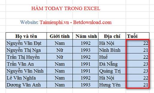 Excel - Hàm TODAY, Hàm trả về ngày hiện tại, Ví dụ minh họa 4