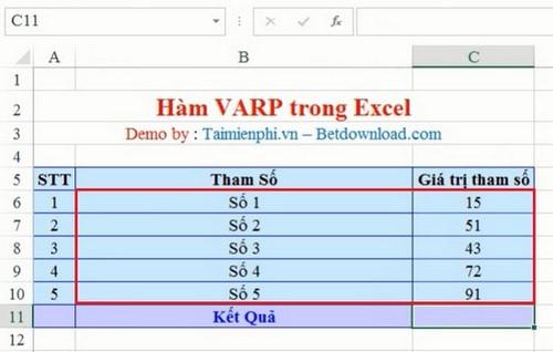 ham VARP Excel