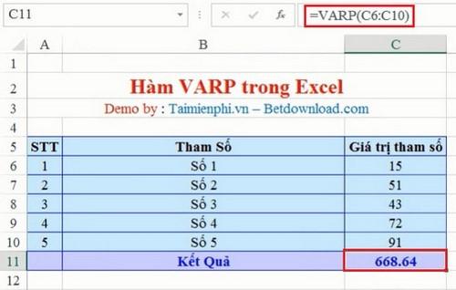 cach dung ham VARP Excel
