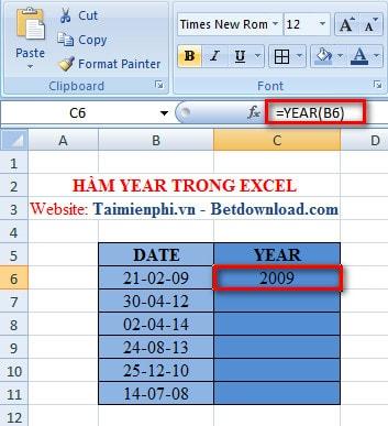 Excel - Hàm YEAR, Hàm cho giá trị là năm của biểu thức số 2