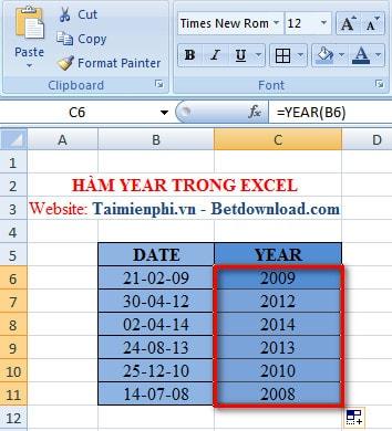 Excel - Hàm YEAR, Hàm cho giá trị là năm của biểu thức số 3