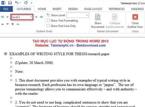 Cách tạo mục lục tự động trong Word 2013 2