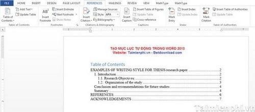 Cách tạo mục lục tự động trong Word 2013 4