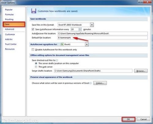 Thay đổi thư mục, folder lưu file Excel mặc định