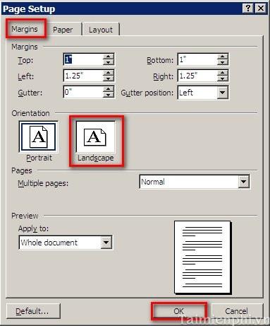 Cách xoay khổ giấy trong Word, quay ngang, dọc trang Word 12