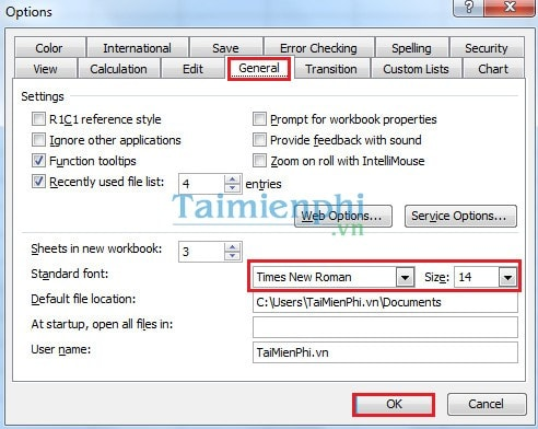 how to change font and font size in excell