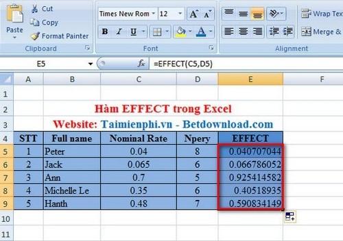 Hàm EFFECT trong Excel, Hàm tính lãi suất thực tế hàng năm