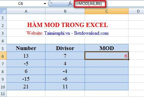 Excel - Hàm MOD, Hàm trả về số dư, Ví dụ minh họa 2