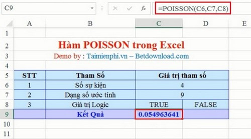 Excel - POISSON function, function returns the Poisson distribution