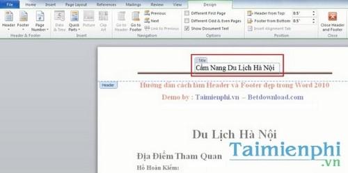 Cách tạo Header và Footer đẹp trong Word 2010 11