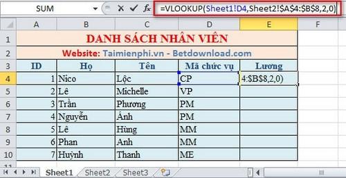 Lọc dữ liệu giữa các Sheet trong Excel 6