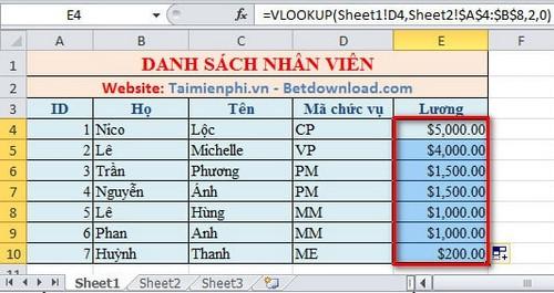 Lọc dữ liệu giữa các Sheet trong Excel 8