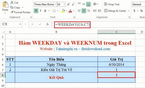 Các hàm ngày tháng trong Excel 3