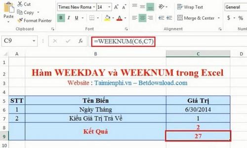 So sánh hàm WEEKDAY và WEEKNUM trong Excel