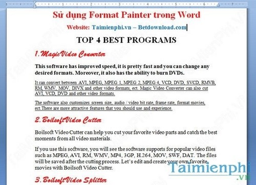 Cách sử dụng Format Painter trong Word, Excel 2