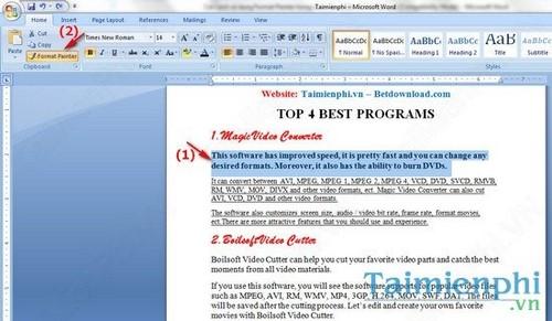 Cách sử dụng Format Painter trong Word, Excel 3