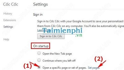 Cài đặt trang chủ trên trình duyệt Cốc Cốc, setup trang chủ mặc định khi mở CocCoc