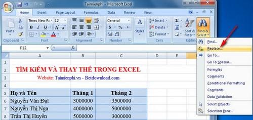 Excel - Tìm kiếm và thay thế trong bảng tính Excel 4