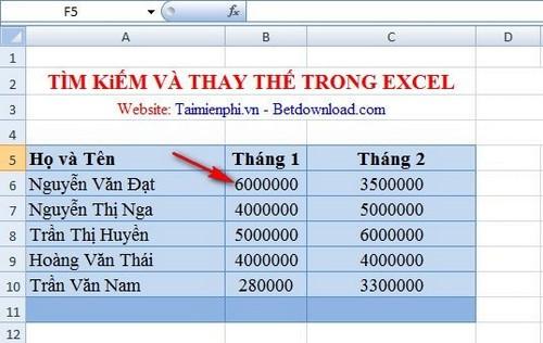 Excel - Tìm kiếm và thay thế trong bảng tính Excel 7