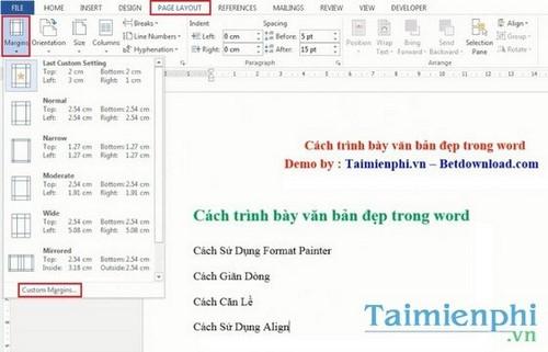 cach trinh bay word chuan