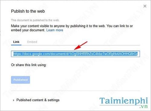 Xuất bản nhanh tài liệu trực tuyến trên Google Docs