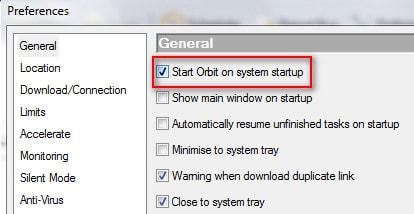 Tắt tính năng khởi động cùng Windows cho Orbit Downloader