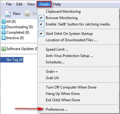 Orbit Downloader - Thay đổi thư mục chứa file download mặc định