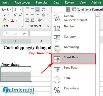 Cách nhập ngày tháng nhanh trong Excel 2