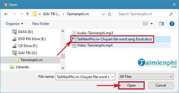 Cách chuyển file Word sang Excel 13