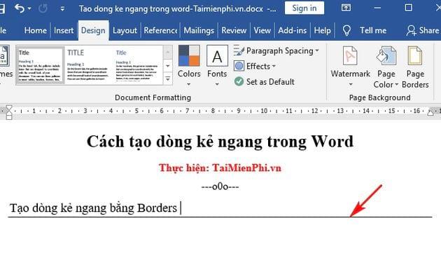 Cách tạo dòng kẻ ngang trong Word 5