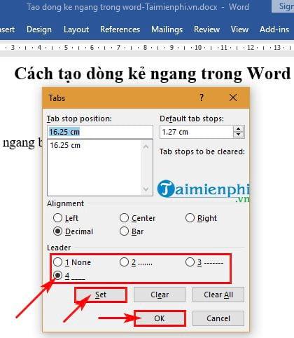 Cách tạo dòng kẻ ngang trong Word 8