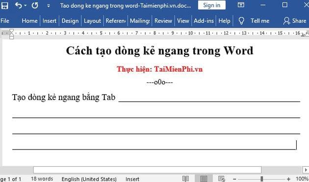 Cách tạo dòng kẻ ngang trong Word 9