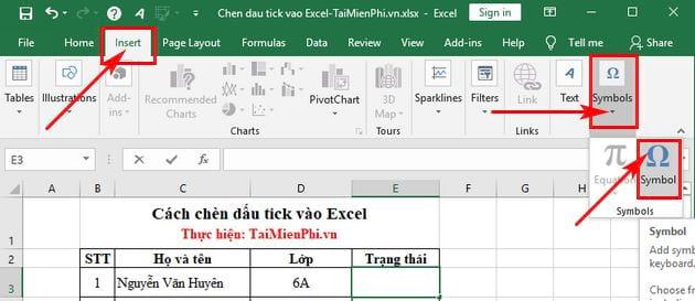 Cách chèn dấu tick vào Excel 6