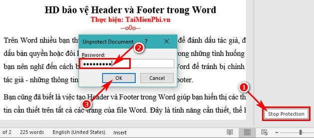 huong dan bao ve header va footer trong word 7
