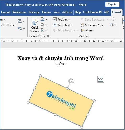 Xoay và di chuyển hình ảnh trong Word 3