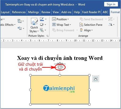 Xoay và di chuyển hình ảnh trong Word 4