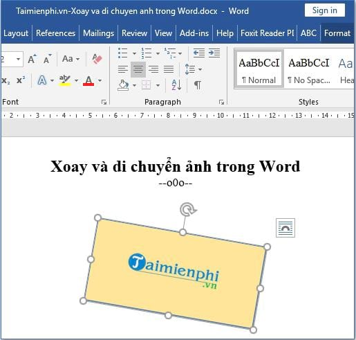 Xoay và di chuyển hình ảnh trong Word 5