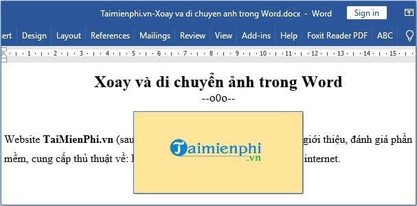 Xoay và di chuyển hình ảnh trong Word 9