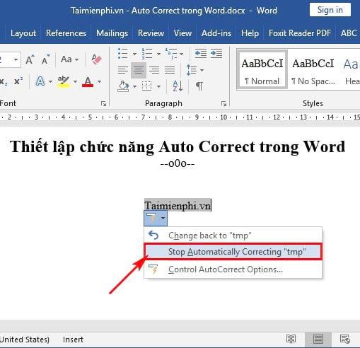 Hướng dẫn thiết lập chức năng Auto Correct trong Word 7