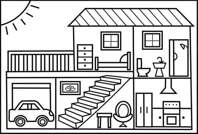 Tranh tô màu ngôi nhà đẹp nhất 10