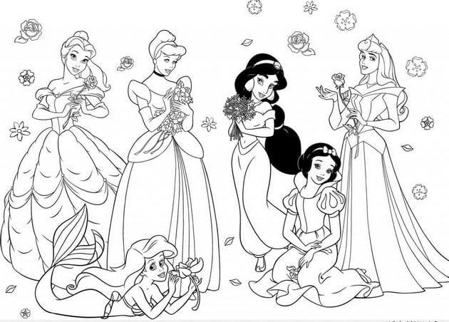 Tranh tô màu công chúa cho bé gái tập tô 10